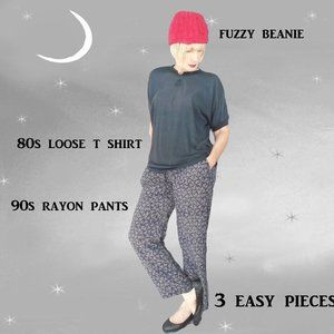Oversize Tee, Loose Pants, Knit Hat, Casual Outfit